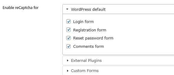 ログインフォームや登録フォームなど指定可能